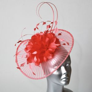 15618 Hot Coral Fascinator/Hatinator SD771